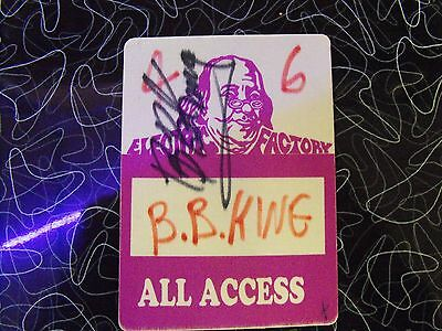 B.B.King All Access Electric Factory Pass Signed by BB King Signature