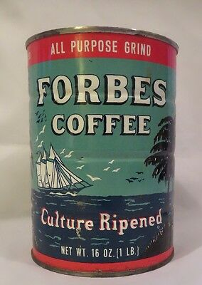 Forbes Coffee Tin Can Ship Palm Trees 1-pound Euclid Co. Cleveland OH