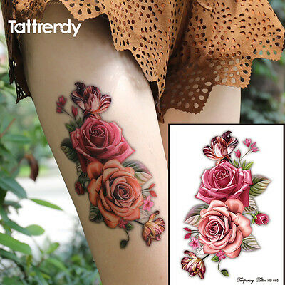 Red Pink Roses Flower Temporary Tattoos Stickers Body Art 3D Rose  Waterproof UK