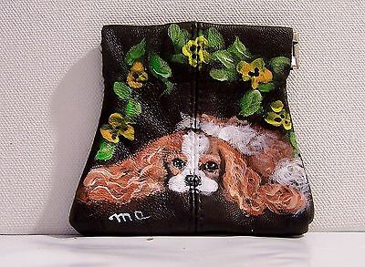 Cavalier King Charles Spaniel  hand painted genuine leather squeeze coinpurse