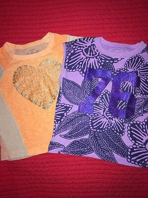 Girls 3T Crewcuts Collectible tees Lot of 2! Purple, Peach & Orange glitter
