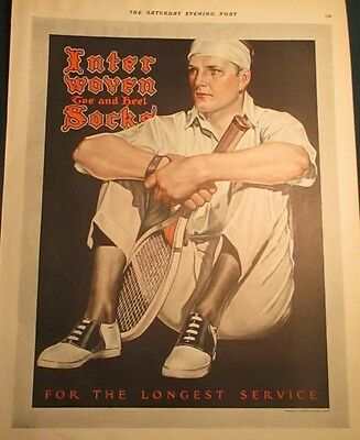1924 Tennis Player Sitting Racquet Shoes Interwoven Socks Ad Leyendecker Like