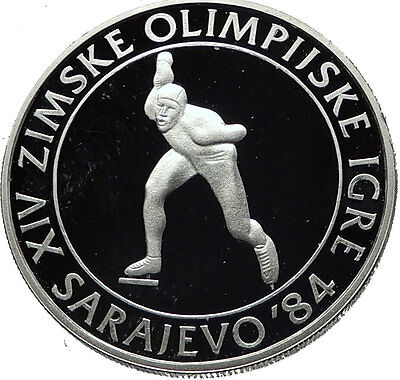 1984 Communist Yugoslavia Winter Olympic Games Speed Skater Silver Coin i60786
