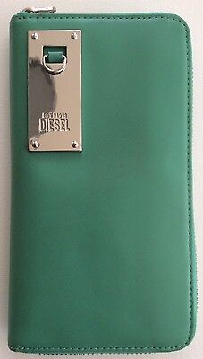 RARE! Authentic DIESEL Green Leather Zip Around Large Continental Wallet Clutch