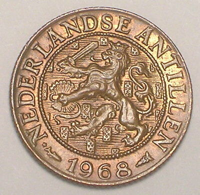 1968 Netherlands Antilles One 1 Cent Lion w/Sword Coin VF+