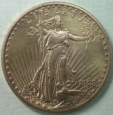 $20 1908-D WITH MOTTO St Gaudens Gold Double Eagle XF-AU Details * AvenueCoin