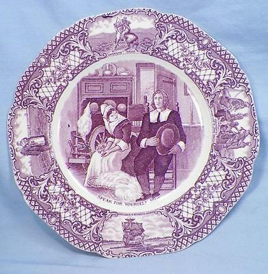Crown Ducal Colonial Times Salad Plate Pilgrims Mulberry Transferware Scalloped