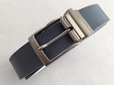 New NIKE Golf Double Sided Reversible Gray & White Genuine Leather Belt Sz 34
