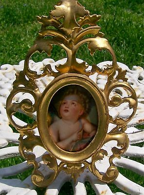porcelain framed angel with arrow hand painted plaque cupid