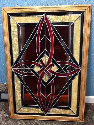 Vintage Handmade Stained Glass Window Celtic Cross