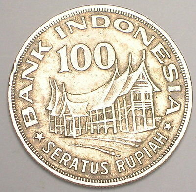 1978 Indonesia Indonesian 100 Rupiah Minangkabau House Tree Coin VF