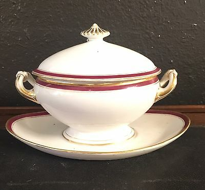 Victorian Antique Porcelain Lidded Mini Tureen Gravy Dish