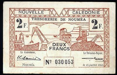 ***awesome Note***1942 New Caledonia 2 Francs Very Fine/vf #c13
