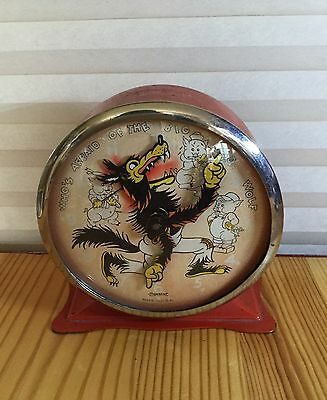 Antique 1934 Ingersoll Big Bad Wolf 3 Little Pigs Alarm Clock