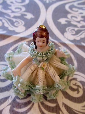 Gorgeous  Vintage Dresden Lace Figurine Girl Sitting on Chair -Blue Ruffled Lace