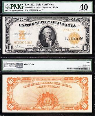 Awesome HIGH GRADE 1922 $10 *GOLD CERTIFICATE*! PMG 40! FREE SHIPPING! H37090918