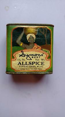 Vintage Spice Tin SYMONS' BEST ALLSPICE Symons Bros & Co Saginaw Michigan