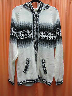 NEW UNISEX ALPACA JACKET WITH HOOD white & black SIZE LARGE