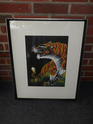 Vintage Asian Silk Painting Art Bengal Tiger Large Framed - Very Nice!!