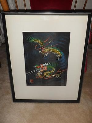 Vintage Asian Silk Painting Art Dragon Large Framed - Very Nice!!