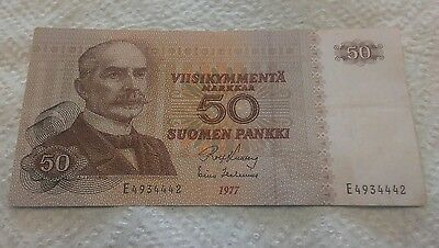 1977 FINLAND ISSUE 5 MARKKAA BANKNOTE AU.PICK#105a.