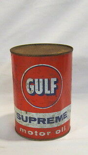 Vintage Gulf Supreme Oil Can Full Old Motor Oil Can Gulf