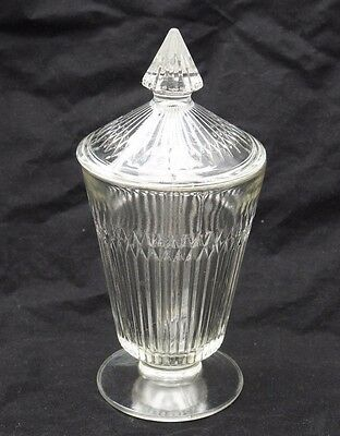 """Vintage 6"""" Glass Apothecary Jar with Bullet Lid - Drugstore Candy Jar - Sundae"""