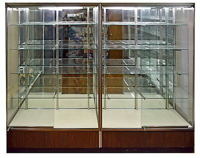 Used Tall Glass Lighted Locking Retail Display Cases