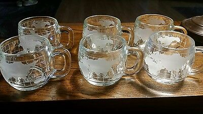 Vintage Lot of 6 Nestle Globe Mugs from the 1970s