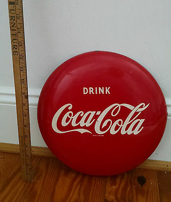 "Vintage 12 Inch ""Drink Coca Cola"" Coke Button Sign Wonderful  Condition!"
