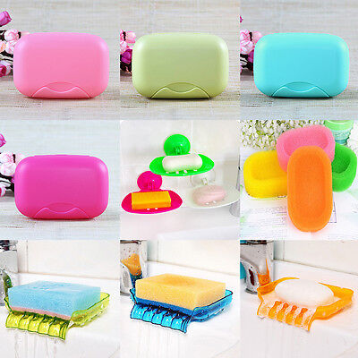 Soap Tray Holder Dish Box Case Storage Organizer Shower Wash Bathroom Kitchen