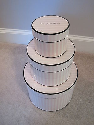Victoria's Secret Signature Pink Stripe Hat Boxes - Set of 3