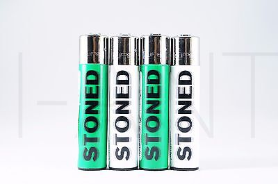 4 pcs New Refillable Clipper Full Size Lighters Stoned Design