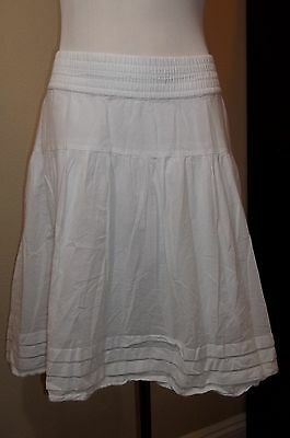 Gap Maternity Peasant Skirt sz S White No-Panel Waist Cotton Casual Lined