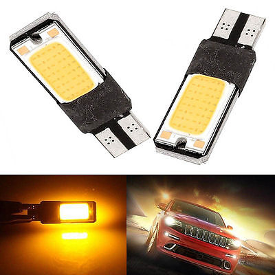 10Pcs Yellow T10 COB W5W LED Canbus Error Free Car Wedge Side Signal Lights 12V