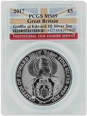 2017 Great Britain QUEEN'S BEAST £5 TWO Oz : PCGS : MS-69: Griffin of Edward III