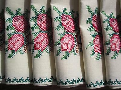 Set of Eight Vintage Cross Stitch TABLE NAPKINS Never Used Hand Embroidered