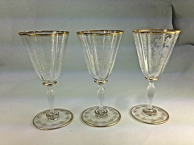 Antique Superb Elegant Three Gold Gilt Grape Etched Bohemian Wine Glasses