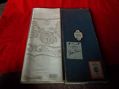Antique White Fine Irish Damask Linen Table Cloth Surety/Famous Barr 70 x 88""