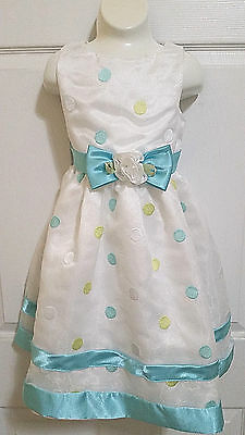 Youngland White Blue Green Polka Spring Summer Party Easter Dress Size 6 EUC