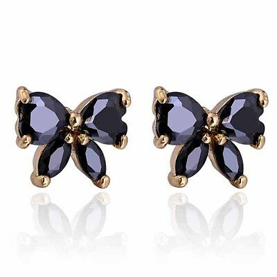 Hot Womens Yellow Gold Plated Butterfly Black Crystal Stud Earrings Fit Girls