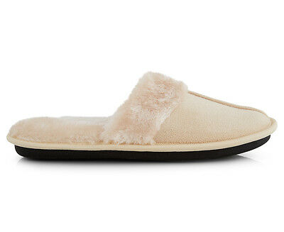 Women's Memory Foam w/ Faux Fur Slippers - Cream