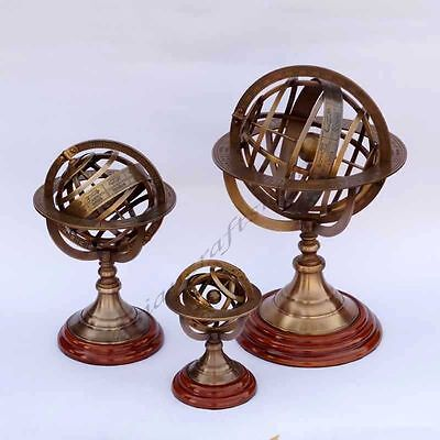 Vintage Maritime Table Top Brass Armillary Set Of 3 Engraved Nautical Globes