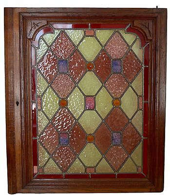 French Antique Oak Wood & Stained Glass Door Panel Furniture 19th.C