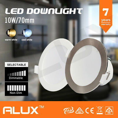 Satin Chrome & White 10W Led Downlight Kit Warm & Cool White Dimmable Non Dim