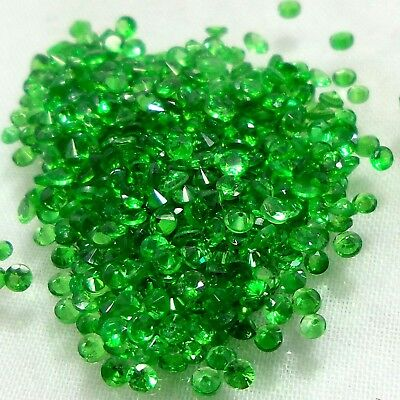 All Calibrated Diamond Cut Round Natural Emerald Green Tsavorite Garnet 50 Piece