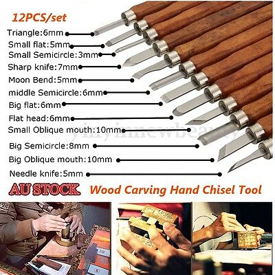 12PCS Wood Carving Hand Chisel Tool Set Woodworking Professional Gouges