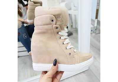 New Women Sneakers Hidden Wedge Trainers Hi Top Ankle Boots Shoes Lace-Up Sizes