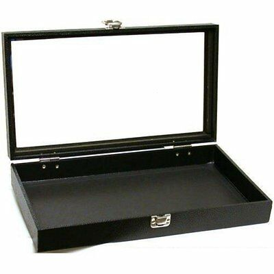 Jewelry Showcase Portable Travel Box Display Case Glass Top Black New
