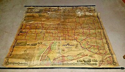 Antique 1860 New York State Hand Colored Wall Map J.H. French NY Pearsall Smith